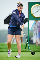 Charley Hull (ENG) watches her tee shot on 10 during Friday's second round of the 72nd U.S. Women's Open Championship, at Trump National Golf Club, Bedminster, New Jersey. 7/14/2017.<br /> Picture: Golffile | Ken Murray<br /> <br /> <br /> All photo usage must carry mandatory copyright credit (&copy; Golffile | Ken Murray)