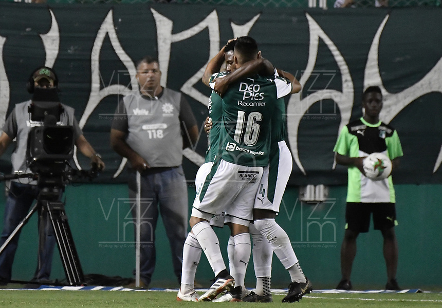 PALMIRA - COLOMBIA, 20-07-2019: Jugadores del Cali celebra después de anotar el segundo gol de su equipo durante partido entre Deportivo Cali y Jaguares de Córdoba por la fecha 2 de la Liga Águila II 2019 jugado en el estadio Deportivo Cali de la ciudad de Palmira. / Players of Cali celebrates after scoring the second goal of his team during match between Deportivo Cali and Jaguares de Cordoba for the date 2 as part Aguila League II 2019 played at Deportivo Cali stadium in Palmira city. Photo: VizzorImage / Gabriel Aponte / Staff