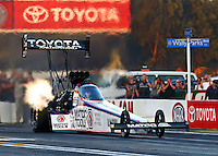 Feb 6, 2015; Pomona, CA, USA; NHRA top fuel driver Antron Brown during qualifying for the Winternationals at Auto Club Raceway at Pomona. Mandatory Credit: Mark J. Rebilas-USA TODAY Sports