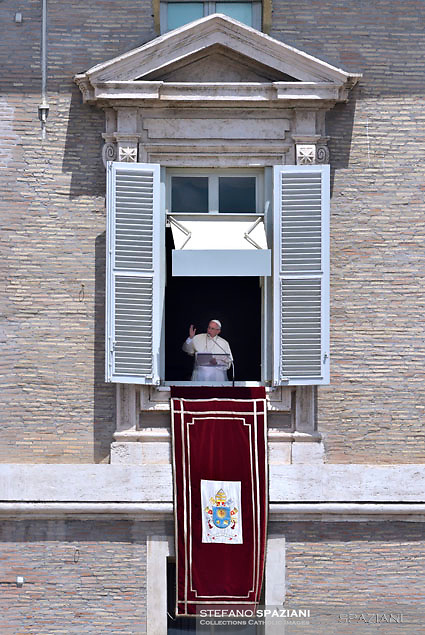 Pope Francis  from the window of the apostolic palace overlooking St.Peter's square during his Angelus prayer  at the Vatican.July 2, 2017