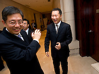 Vice Mayor of Shanghai Tu Guangshao (left), and China Securities Regulatory Commission Vice-Chairman Yao Gang (right), at Shanghai / Paris Europlace Financial Forum, in Shanghai, China, on December 1, 2010. Photo by Lucas Schifres/Pictobank