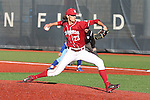 Tanner Chleborad fires a pitch during Washington State's non-conference battle with San Jose State at Bailey-Brayton Field in Pullman, Washington, on May 24, 2014.  The Cougars came back to defeat the Spartans, 12-9.