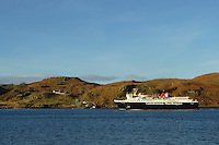 The Caledonian MacBrayne Ferry, Isle of Mull, passing the island of Kerrera near Oban Argyll and Bute<br /> <br /> Copyright www.scottishhorizons.co.uk/Keith Fergus 2011 All Rights Reserved