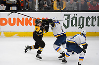 June 12, 2019: Boston Bruins left wing Jake DeBrusk (74) and St. Louis Blues defenseman Vince Dunn (29) in game action during game 7 of the NHL Stanley Cup Finals between the St Louis Blues and the Boston Bruins held at TD Garden, in Boston, Mass.  The Saint Louis Blues defeat the Boston Bruins 4-1 in game 7 to win the 2019 Stanley Cup Championship.  Eric Canha/CSM.