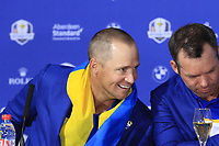 Alex Noran and Paul Casey (Team Europe) at the press conference after Europe win the Ryder Cup 17.5 to 10.5 at the end of Sunday's Singles Matches at the 2018 Ryder Cup 2018, Le Golf National, Ile-de-France, France. 30/09/2018.<br /> Picture Eoin Clarke / Golffile.ie<br /> <br /> All photo usage must carry mandatory copyright credit (&copy; Golffile | Eoin Clarke)