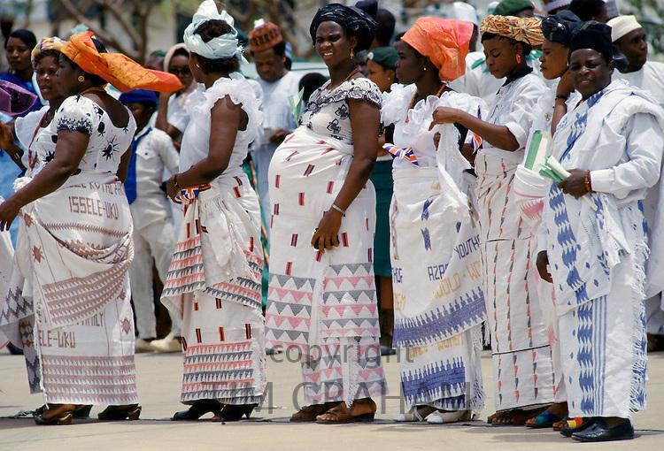 Nigerian women, one pregnant, attending a tribal gathering durbar cultural festival at Maiduguri in Nigeria, West Africa