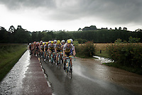 Maarten Tjallingii (NLD/LottoNL-Jumbo) driving the peloton over flooded roads under a menacing sky in his very last professional race<br /> <br /> stage 3: Buchten - Buchten (NLD/210km)<br /> 30th Ster ZLM Toer 2016