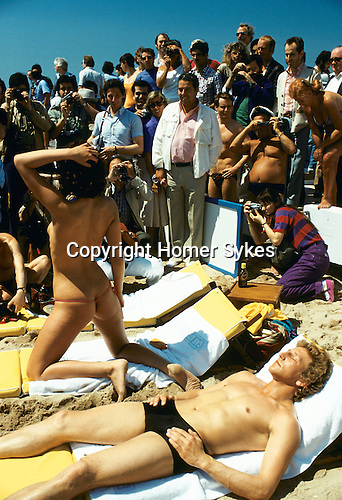 Cannes Film festival photographers doing their job. France 1980.