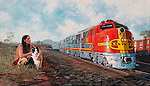 Santa Fe warbonnet E6 diesel pulling passenger train past a native american Indian and his dog, ATSF in the southwestern USA circa 1950's.