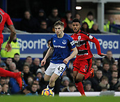 2nd December 2017, Goodison Park, Liverpool, England; EPL Premier League football, Everton versus Huddersfield Town; Jonjoe Kenny of Everton runs at the Huddersfield Town defence with Elias Kachunga in pursuit