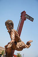 Temple City's Rosemead Blvd Sculpture of a Woman Riding a Streetcar