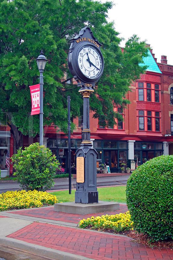Vintage clock in town square Washington Georgia
