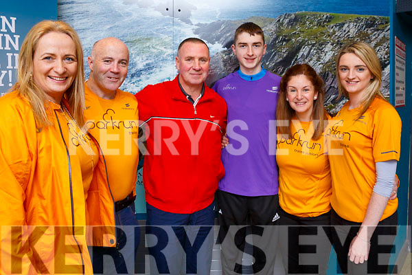 Stella O'Shea, Colm Lynch, Pat Sheehy, with Darragh, Caroline and Emer Lynch as they head off to London from Kerry Airport with the Tralee Parkrun on Friday evening last.