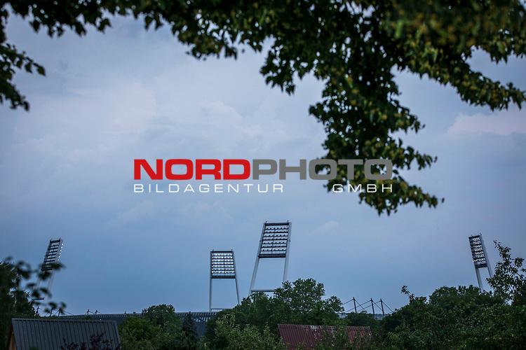 im Bild: Flutlichtmasten Wohninvest Weserstadion, <br /><br /><br />Sport: nphgm001: Fussball: 1. Bundesliga: Saison 19/20: 34. Spieltag: SV Werder Bremen vs 1.FC Koeln 27.06.2020 <br /><br />Foto: Rauch/gumzmedia/nordphoto<br /><br />EDITORIAL USE ONLY