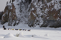 Friday March 12 , 2010   Hans Gatt on the Yukon River shortly after leaving the village checkpoint of Ruby