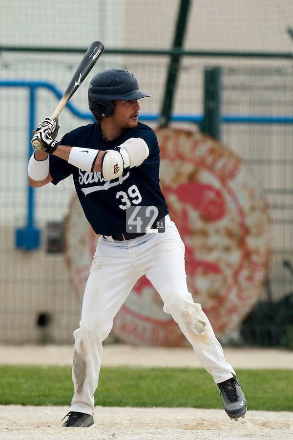 21 May 2009: Romain Scott-Martinez is seen at bat during the 2009 challenge de France, a tournament with the best French baseball teams - all eight elite league clubs - to determine a spot in the European Cup next year, at Montpellier, France.
