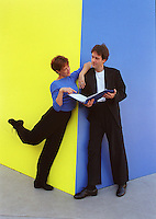 """KAREN ZIEMBA and BOYD GAINES, stars of the """"dance play"""", CONTACT, at Lincoln Center Theater at the Mitzi Newhouse, pose near Ellsworth Kelly's YELLOW BLUE sculpture on Lincoln Center Plaza to illustrate the fine line between dance and theater..Lincoln Center, NYC"""