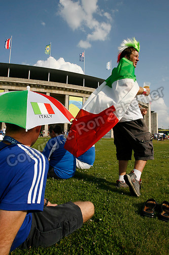 Jul 9, 2006; Berlin, GERMANY; Italy supporters wait outside the Olympiastadion prior to the match between Italy and France in the final of the 2006 FIFA World Cup. Mandatory Credit: Ron Scheffler-US PRESSWIRE Copyright © Ron Scheffler