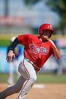 Philadelphia Phillies left fielder Ben Akilinski (25) runs the bases during a Florida Instructional League game against the Toronto Blue Jays on September 24, 2018 at Spectrum Field in Clearwater, Florida.  (Mike Janes/Four Seam Images)