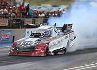 Jul 23, 2016; Morrison, CO, USA; NHRA funny car driver Tim Wilkerson during qualifying for the Mile High Nationals at Bandimere Speedway. Mandatory Credit: Mark J. Rebilas-USA TODAY Sports
