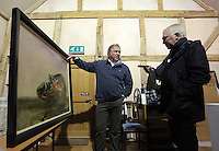 Pictured: Guardian Art correspondent Mark Brown (R) and Anthony Plant of the Sidney Nolan Trust, in the exhibition area Friday 02 December 2016<br /> The Sidney Nolan Trust, Rodd, Herefordshire, England, UK