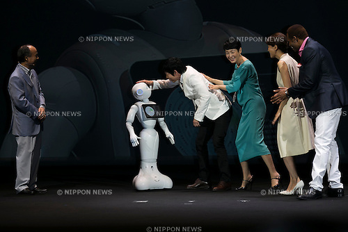 (L to R) Masayoshi Son chairman & CEO of SoftBank, robot Pepper, actor Koji Imada, actress Kanako Higuchi, announcer Kyoko Uchida and actor Dante Carver attend a press conference to announce that the SoftBank's robot ''Pepper'' can feel like a human on June 18, 2015, Tokyo, Japan. Masayoshi Son chairman & CEO of Japanese internet and telecommunications giant SoftBank Corp., announced that its robot Pepper can feel and understand people's emotions and also express itself. Son also said that the first 1000 robots will be on sale to the public for 198,000 JPY (1,604 USD) from Saturday June 20th, and could be available to companies to replace positions such as reception and convenience store staff from the beginning of July. To develop Pepper's skills SoftBank announced an alliance with foreign technology companies FOXCONN and Alibaba Group. (Photo by Rodrigo Reyes Marin/AFLO)