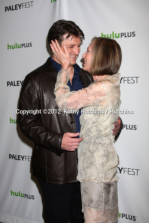 "LOS ANGELES - MAR 9:  Nathan Fillion; Susan Sullivan arrives at the ""Castle"" Event at PaleyFest 2012 at the Saban Theater on March 9, 2012 in Los Angeles, CA"