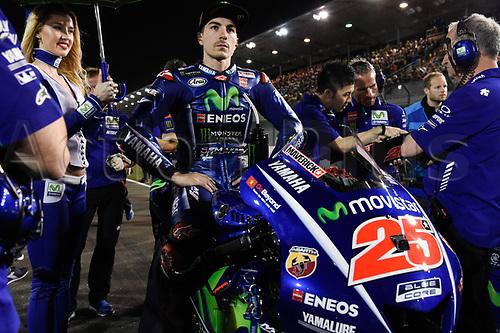 March 26th 2017, Doha, Qatar; MotoGP Grand Prix Qatar; Maverick Vinales (movistar Yamaha) ready to race and win