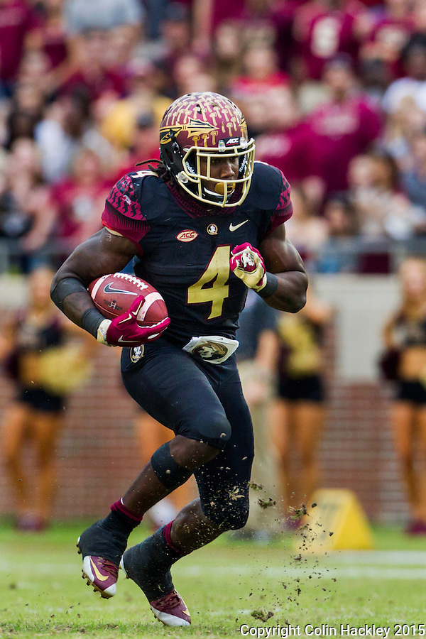 TALLAHASSEE, FLA. 11/21/15-Florida State running back Dalvin Cook runs during action against Chattanooga at Doak Campbell Stadium in Tallahassee.<br /> <br /> COLIN HACKLEY PHOTO