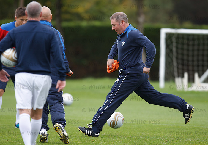 Ally McCoist striding about training looking like Franz Beckenbauer