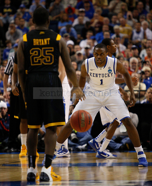 Darius Miller guards Darryl Bryant in their second game of the 2011 NCAA Basketball Tournament, at the St. Pete Times Forum, in Tampa, Fl.  Photo by Latara Appleby   Staff