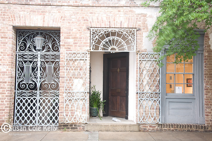 Elegant ironwork near the Dock Street Theatre (135 Church St) in downtown Charleston, SC, a National Historic Landmark district.