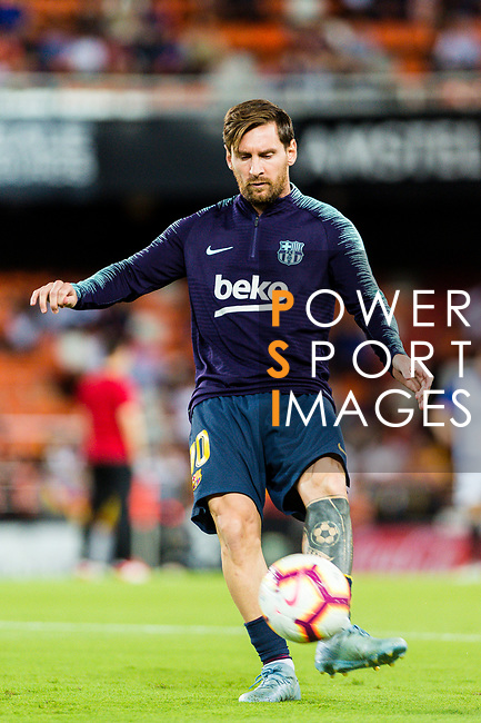 Lionel Messi of FC Barcelona warming up during the UEFA Champions League 2018-19 match between Valencia CF and FC Barcelona at Estadio de Mestalla on October 07 2018 in Valencia, Spain. Photo by Maria Jose Segovia Carmona / Power Sport Images