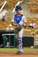 Surprise Saguaros catcher Pat Cantwell (15) during an Arizona Fall League game against the Glendale Desert Dogs on October 9, 2014 at Camelback Ranch in Phoenix, Arizona.  Surprise defeated Glendale 7-4.  (Mike Janes/Four Seam Images)