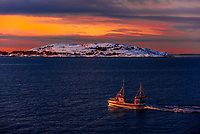 Fishing boat near Meloy, north of the Arctic Circle, in Northern Norway.