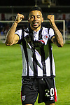 Nathan Arnold of Grimsby Town celebrates victory after he scored both Grimsby Town goals to make it 1-2 during the Vanamara Conference Play Off Semi Final First Leg match between Eastleigh and Grimsby Town at The Silverlake Stadium, Eastleigh<br /> Picture by David Horn/eXtreme aperture photography +44 7545 970036<br /> 30/04/2015