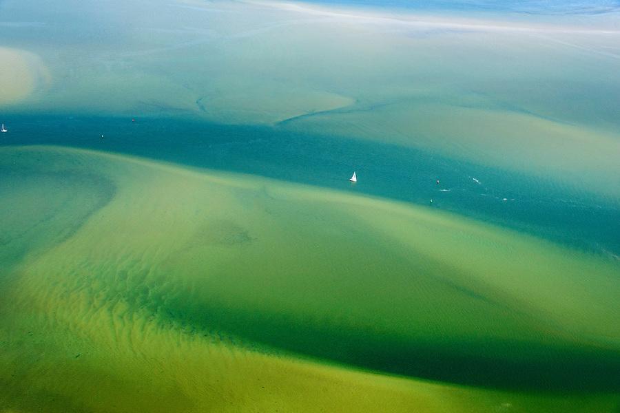 Nederland, Friesland, Waddenzee, 05-08-2014; vaargeul door Waddenzee bij hoogwater.<br /> Waterway through the Wadden Sea.<br /> luchtfoto (toeslag op standard tarieven);<br /> aerial photo (additional fee required);<br /> copyright foto/photo Siebe Swart