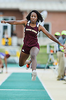 Cammile Bender of Texas State attempts a triple jump during Baylor Invitational track meet, Friday, April 03, 2015 in Waco, Tex. (Mo Khursheed/TFV Media via AP Images)