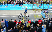 Picture by SWpix.com - 03/05/2018 - Cycling - 2018 Tour de Yorkshire - Stage 1: Beverley to Doncaster - Harry  Tanfield of Canyon Eisberg celebrates winning the stage