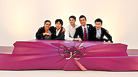 The design of the Medal podium which will be used at the London 2012 Olympic games, with the designers Gaetano Ling, Hong-Yeul Eom, Luc Fasaro, Heegun Koo, and Yan Lu (left to right), at a photocall to launch their stunning work in a Studio in Wapping east London. <br /> PRESS ASSOCIATION Photo. Picture date: Friday June 1, 2012. See PA story  Photo credit should read: John Stillwell/PA Wire PRESS ASSOCIATION.<br /> <br /> IDE graduates 2011/12