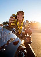 Nov 17, 2019; Pomona, CA, USA; NHRA pro stock motorcycle rider Jianna Salinas celebrates after winning the Auto Club Finals at Auto Club Raceway at Pomona. Mandatory Credit: Mark J. Rebilas-USA TODAY Sports