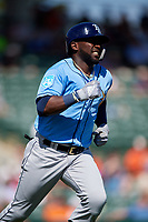 Tampa Bay Rays right fielder Guillermo Heredia (54) runs to first base during a Grapefruit League Spring Training game against the Baltimore Orioles on March 1, 2019 at Ed Smith Stadium in Sarasota, Florida.  Rays defeated the Orioles 10-5.  (Mike Janes/Four Seam Images)