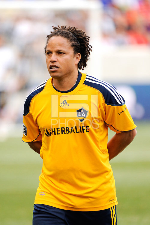 Los Angeles Galaxy assistant coach Cobi Jones. The Los Angeles Galaxy defeated the New York Red Bulls 1-0 during a Major League Soccer (MLS) match at Red Bull Arena in Harrison, NJ, on August 14, 2010.