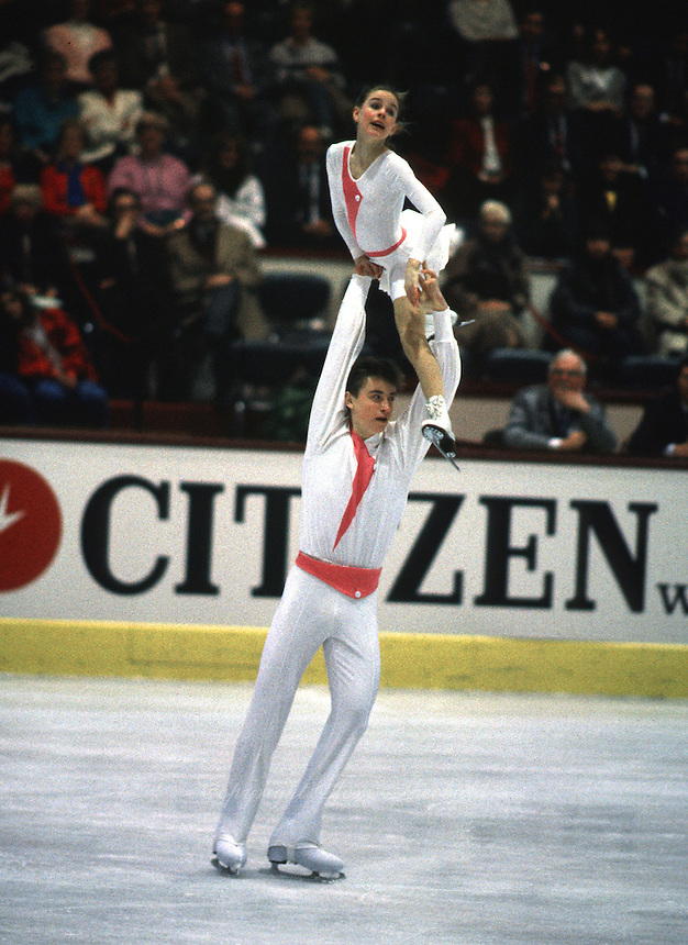 Ekaterina Gordeeva and Sergei Grinkov of Soviet Union perform in pairs competition on way to winning their first gold at World Championships in March, 1986 at Geneva, Switzerland. (Photo by Tom Theobald)