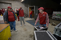 NWA Democrat-Gazette/ANDY SHUPE<br />Rodney Collins (left) of Pensacola, Fla., and Jerry Rico of Fayetteville load equipment Thursday, Nov. 9, 2017, into a 53-foot semi-trailer before heading out to Baton Rouge, La., ahead of the Razorbacks' game with LSU Saturday. Rico and Collins are employees of J.B. Hunt Transport and the work together to drive equipment necessary for the Razorbacks football team to and from games away from Fayetteville.