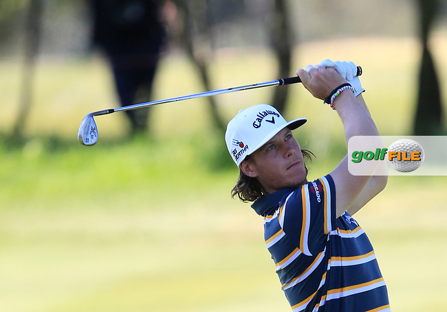 Kristoffer Broberg (SWE) on the 2nd fairway during Round 4 of the Open de Espana  in Club de Golf el Prat, Barcelona on Sunday 17th May 2015.<br /> Picture:  Thos Caffrey / www.golffile.ie