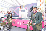 The Trofeo Senza Fine on display at sign on before the start of Stage 14 of the 2018 Giro d'Italia, running 186km from San Vito al Tagliamento to Monte Zoncolan features Europe's hardest climb, Italy. 19th May 2018.<br /> Picture: LaPresse/Gian Mattia D'Alberto | Cyclefile<br /> <br /> <br /> All photos usage must carry mandatory copyright credit (&copy; Cyclefile | LaPresse/Gian Mattia D'Alberto)