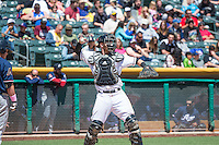 Jett Bandy (27) of the Salt Lake Bees during the game against the Reno Aces in Pacific Coast League action at Smith's Ballpark on May 10, 2015 in Salt Lake City, Utah.  Salt Lake defeated Reno 9-2 in Game One of the double-header. (Stephen Smith/Four Seam Images)