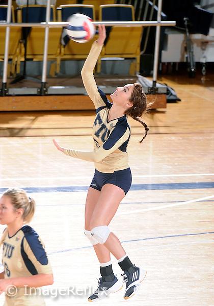 Florida International University women's volleyball player Rachel Fernandez (5) plays against Florida A&M University.  FIU won the match 3-0 on September 11, 2011 at Miami, Florida. .