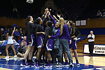 DURHAM, NC - NOVEMBER 16: High Point players huddle before the game. The Duke University Blue Devils hosted the High Point University Panthers on November 16, 2017 at Cameron Indoor Stadium in Durham, NC in a Division I women's college basketball game. Duke won the game 77-50.